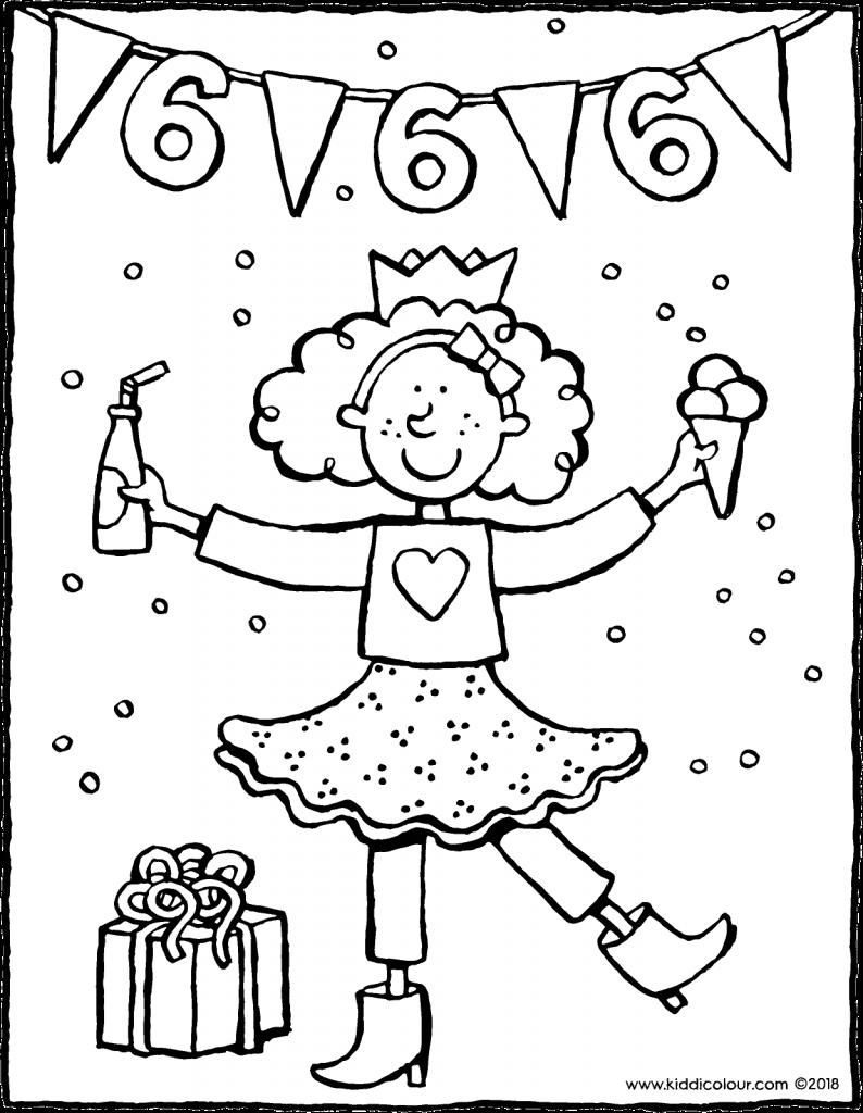 verjaardag meisje 6 jaar kleurprent kleurplaat tekening