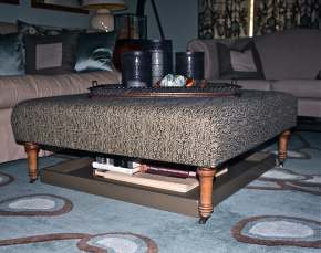 diy ottoman tray, painted furniture, Tray is sized to also fit underneath legs of ottoman great for extra storage and display