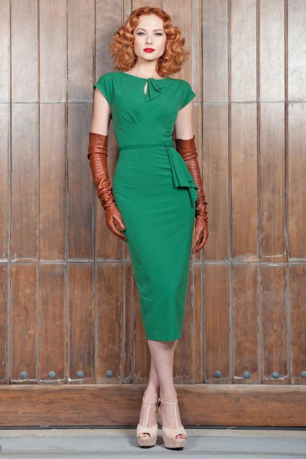 46c246e47745 New Stop Staring! collection - The 40s Timeless vintage green pencil dress  is a real treasure.