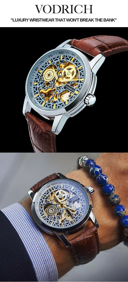 Featuring an inspired skeleton engraving reminiscent of a Renaissance mosaic, the Da Vinci is matched with a polished silver case that exudes style and class. It comes with a classic brown genuine leather band and is ideal to be worn in a formal setting but is just as eye-catching as a casual lifestyle piece. To complete the look, pair with a silver Vodrich bracelet.