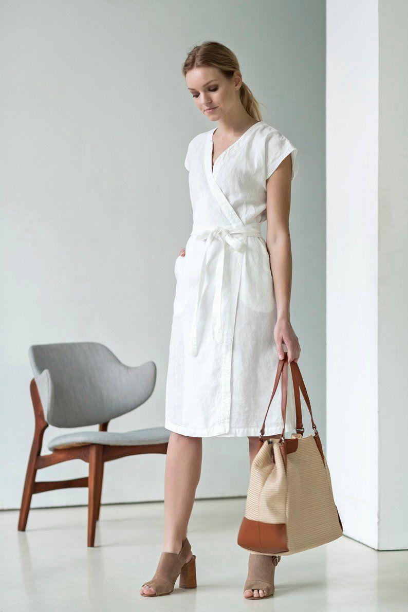 White Knee Length Linen Dress Linen Dresses White Linen Dresses Linen Dress [ 1191 x 794 Pixel ]