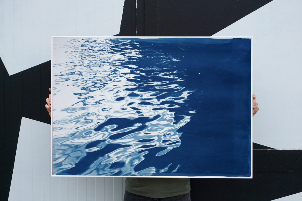 WHAT YOU'LL GETThis is an exclusive and handprinted limited edition of a cyanotype print.Details:  Title: Black Sea Rhythms  Edition Size: only 50  Stamped and Certificate of Authenticity provided.  The paper measures 100cm x 70cm (about 40 in. x 28 in.), a standard frame size.  All prints are