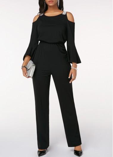 22f52294ca90 Keyhole Back Cinched Waist Cold Shoulder Black Jumpsuit