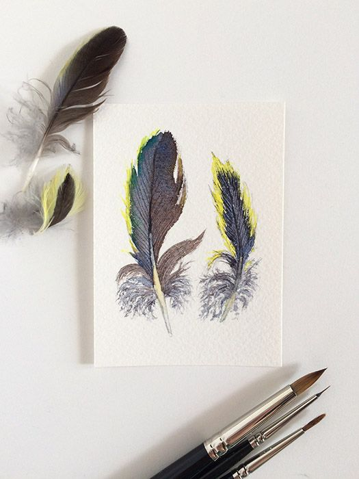 Original watercolour painting of two small grey & yellow feathers by Zoya Makarova. ACEO/artist trading card size 2.5x3.5 inches