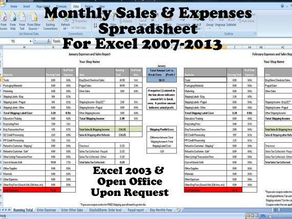 Sales and Expenses Excel Template - Importer for Etsy and Paypal