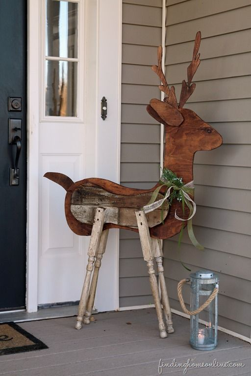 outdoor christmas decorating reclaimed wood reindeer tutorial