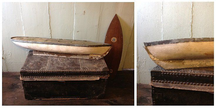 DECORATIVE WOODEN HULLED POND YACHT. SOLD. HUTCHISONANTIQUES.COM