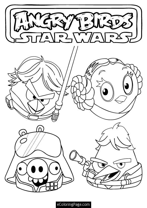 Angry Birds Star Wars Luke Skywalker Princess Leia Han Solo Pig Printable Coloring Page