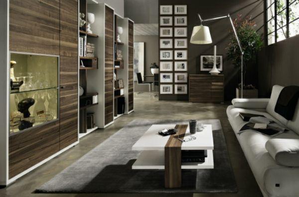 moderne wohnzimmer einrichtung elegane stehlampe und grobe holz