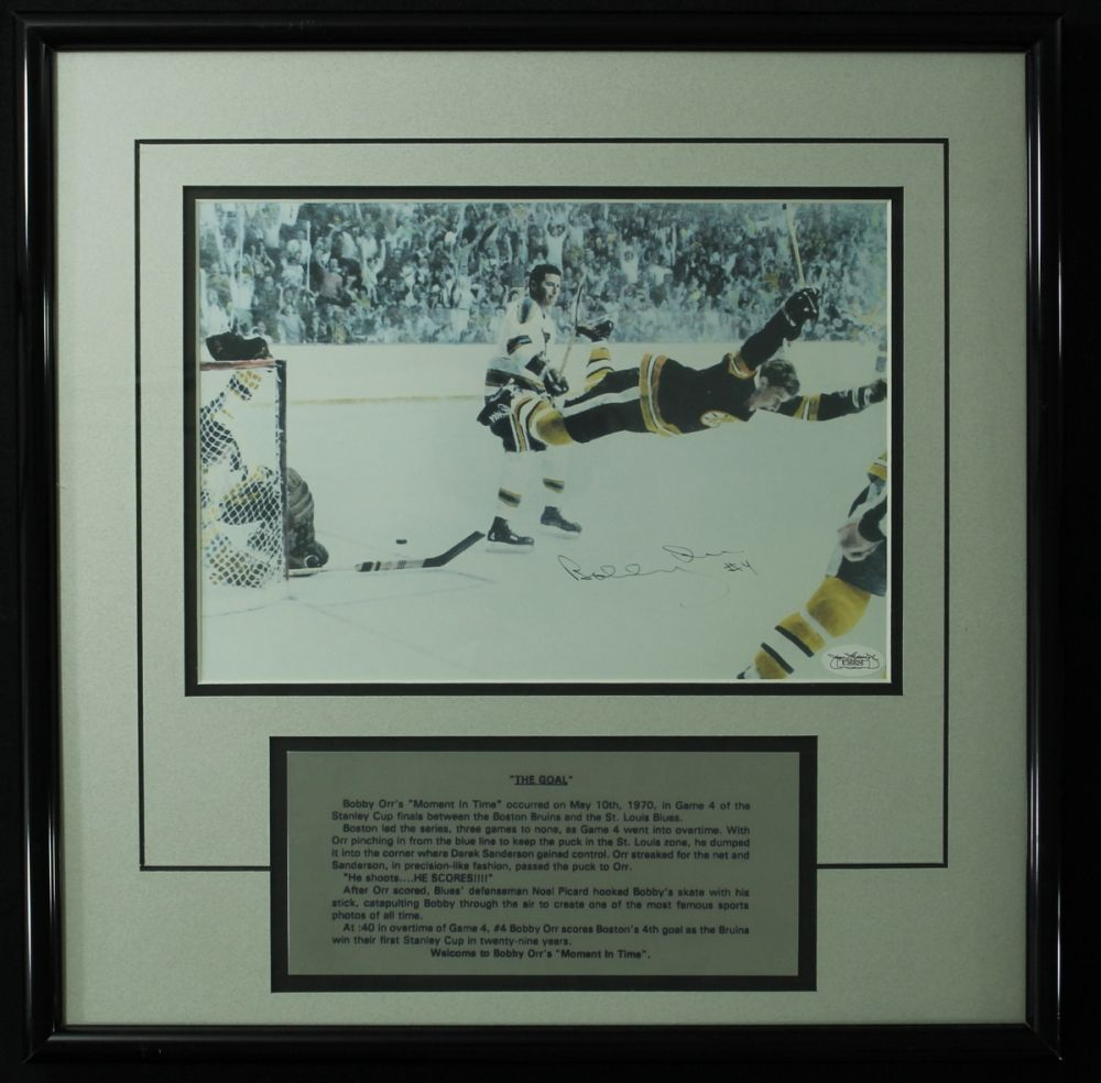 Bobby Orr Signed Bruins 16x16 Custom Framed Display (JSA COA & Orr COA) at PristineAuction.com $1 #autograph