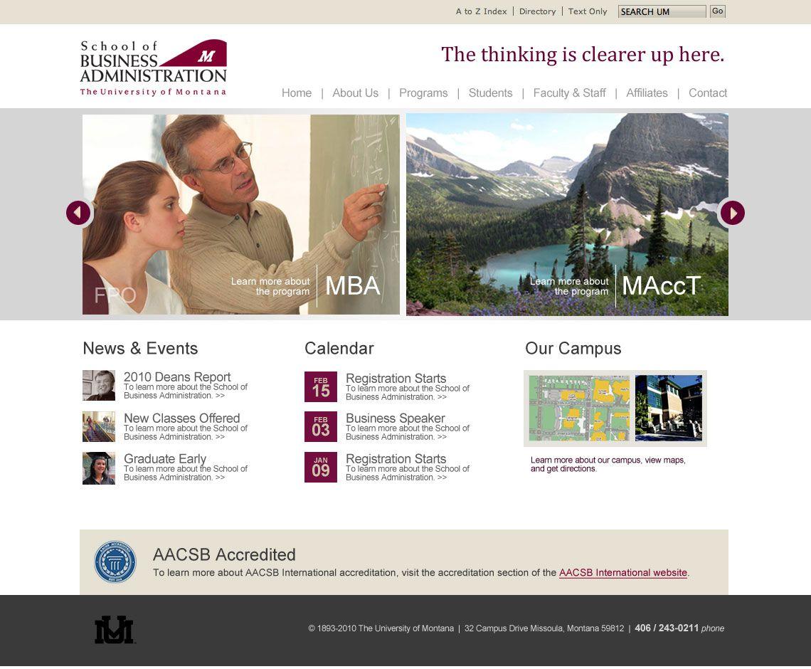 Website Design For The University Of Monana School Of Business Business Website Design Website Design University Of Montana