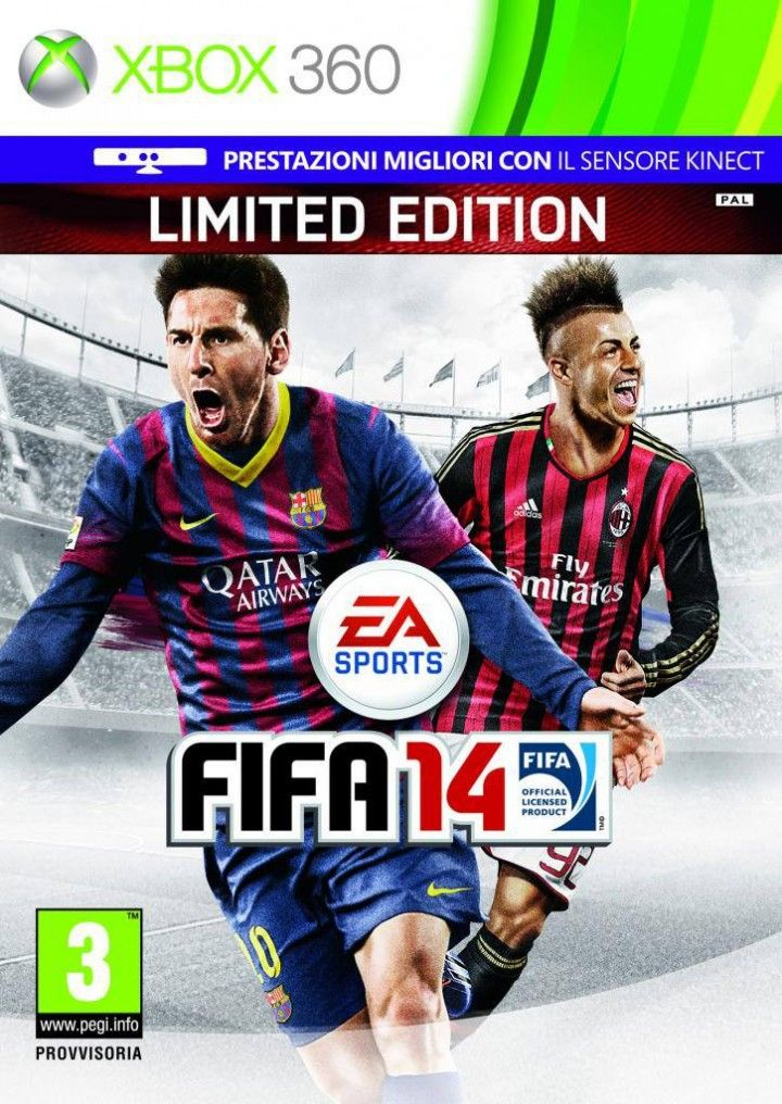FIFA 14 cover for Italy (Italian version) featuring El Shaarawy and Lionel Messi