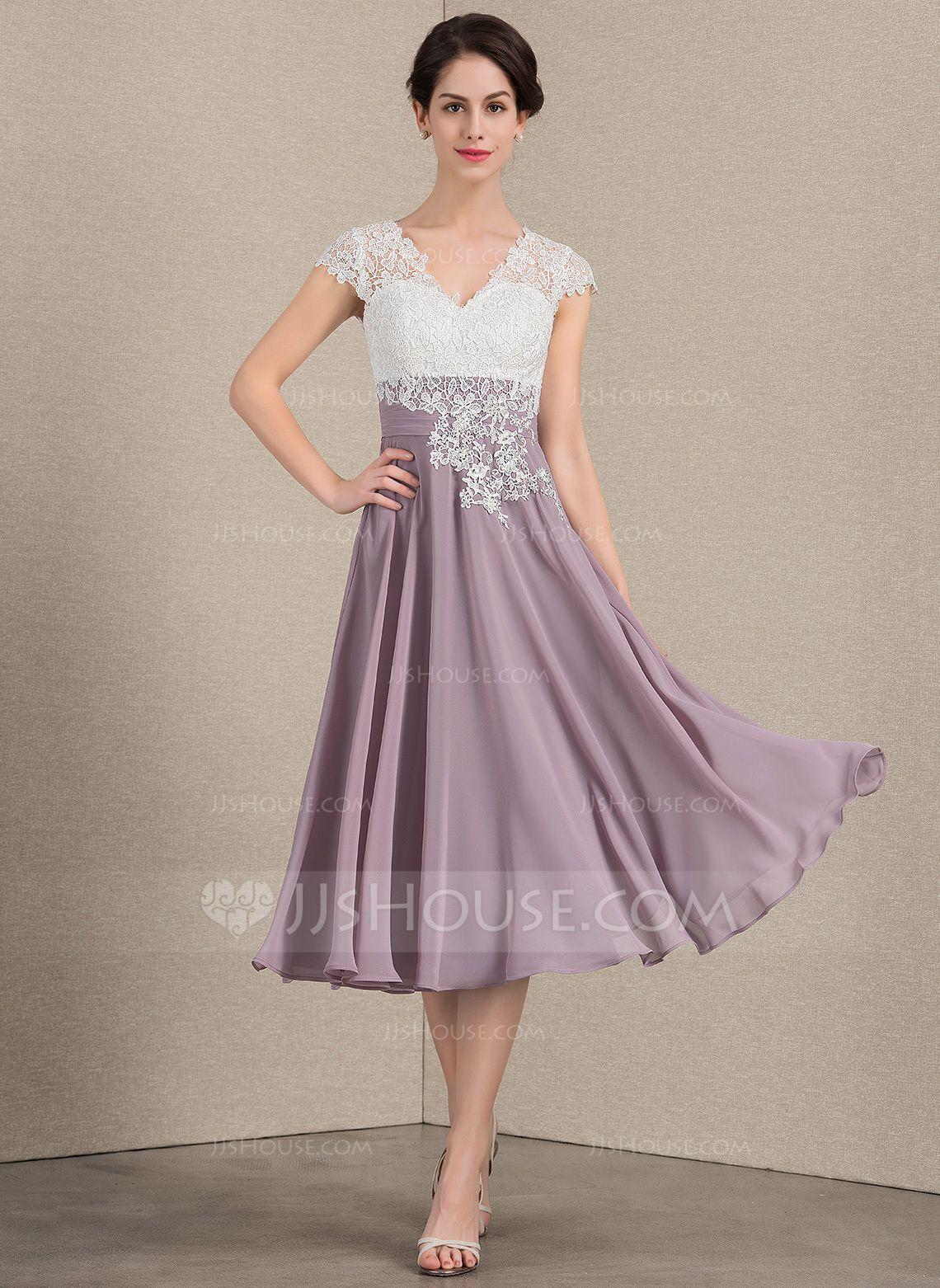 JJsHouse ALine/Princess Vneck TeaLength Chiffon Lace