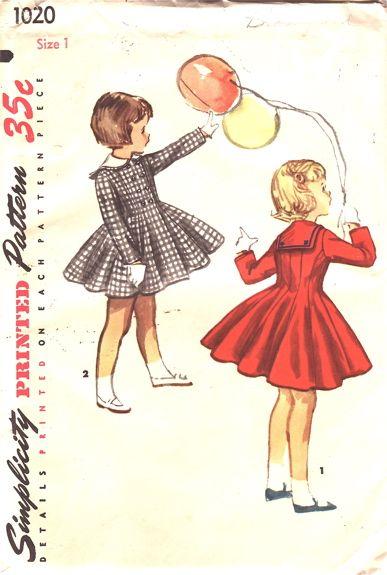 385e5aac6 Simplicity 1020 | Años 50 | Patrones de costura, Costura y Vestidos ...