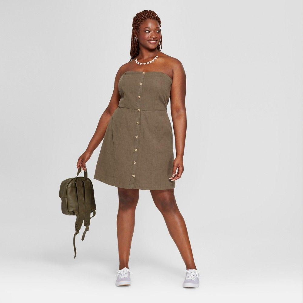 Womenus plus size tube button front dress universal thread olive