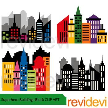superhero buildings block clip art classroom projects craft rh pinterest com clipart buildings black and white clip art building construction