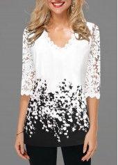 Lace Detail Contrast Panel Floral Print T Shirt | Rotita.com - USD $29.20 #shirtsale
