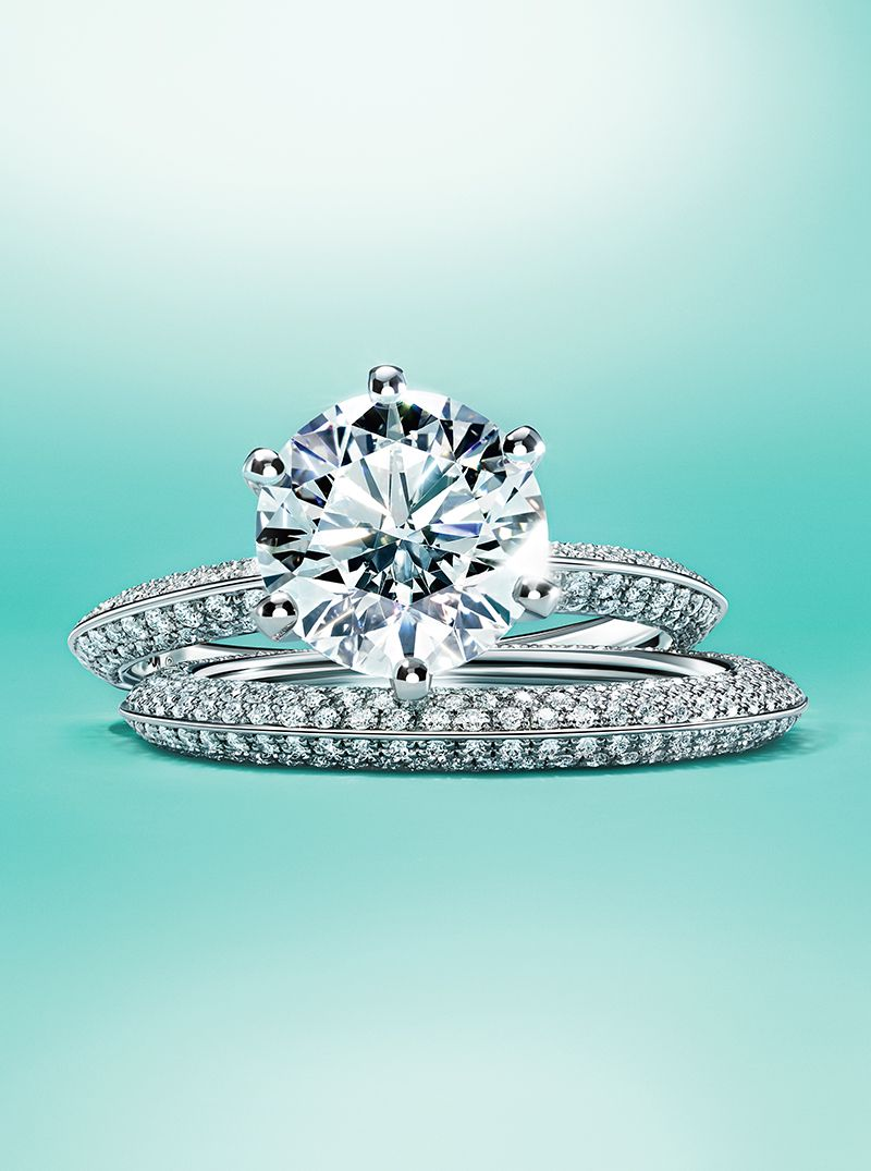The Pavé Tiffany® Setting engagement ring and Tiffany