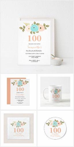 floral pretty peach 100th birthday invitation 100th birthday