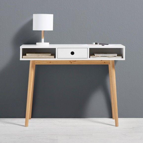 Schreibtisch Aus Holz In Weiss Emilie Braun Weiss Modern Holz