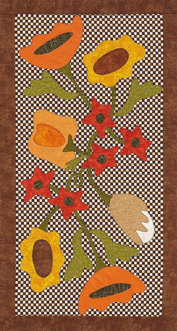 Rich hues make the petals, stem, and leaves pop off the check background of  this beautiful appliqué autumn wall hanging.Fabricsare from the  Sunflower Bouquet collection by Angela Anderson and Lola Textures, Quilting  Essentials, and Quilting Temptations collections, all by Quilting Treasures  [1].   [1] http://quiltingtreasures.com