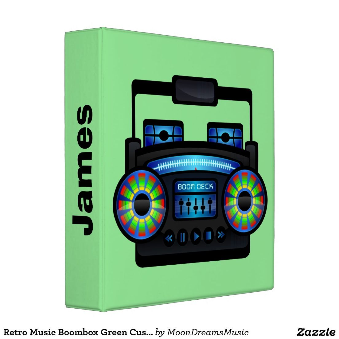#RetroMusicBoombox #GreenCustomBinder by #MoonDreamsMusic #BackToSchool #SchoolSupplies