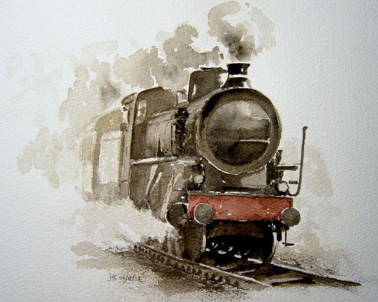 Locomotive Vapeur With Images Art Watercolor Art Poster Art