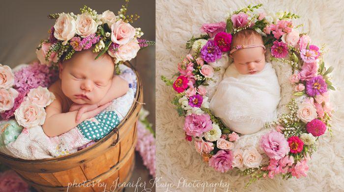 Newborn with flowers newborn baby photography naperville event florist