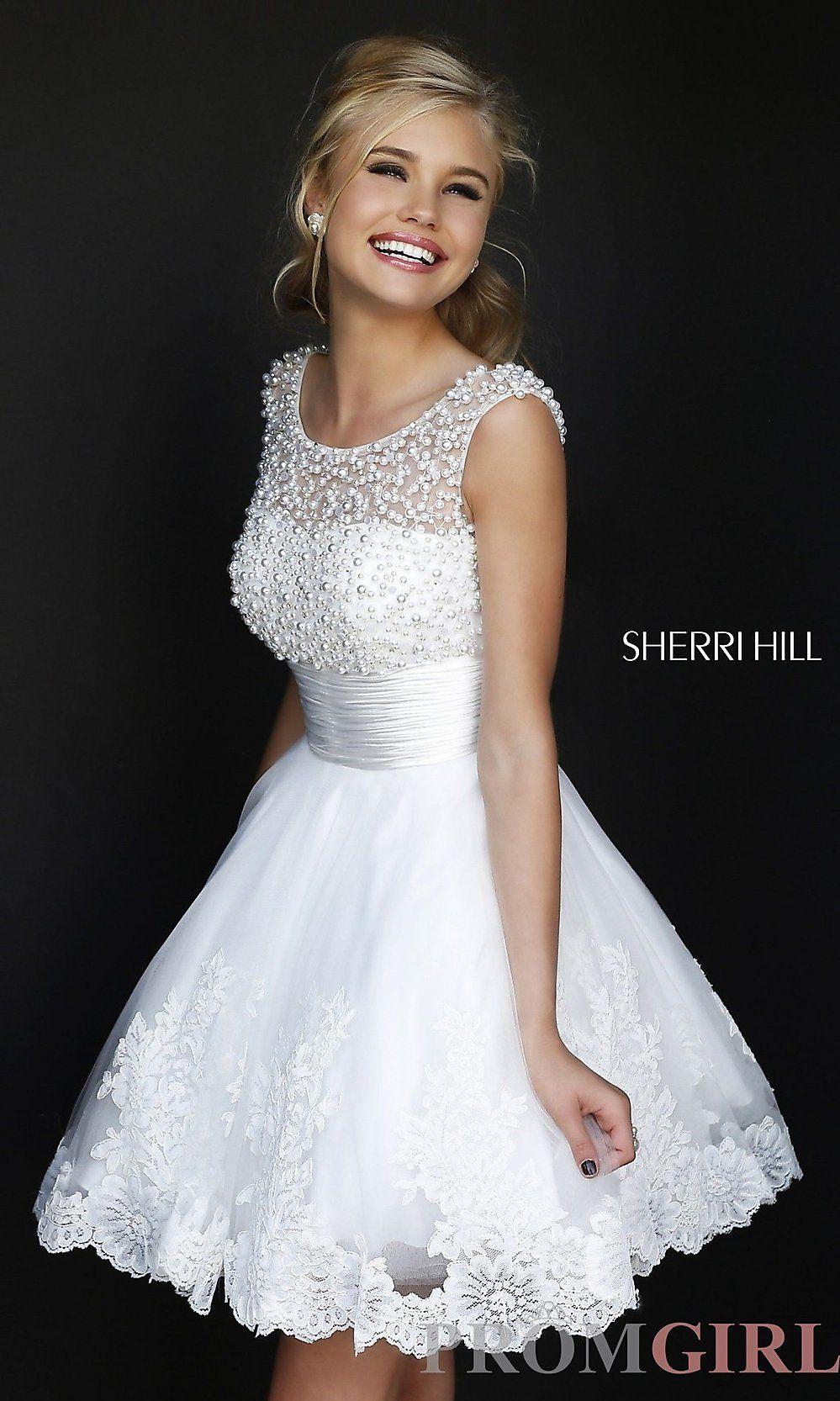 Short high neck white sherri hill dress dresses pinterest