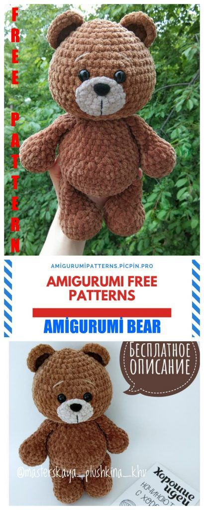 Amigurumi Tedy Bear Free Crochet Pattern - Amigurumi Patterns #crochetbear