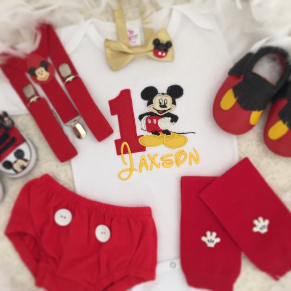 Personalised Mickey mouse theme 1st Birthday suspenders outfit-includes personalised onesie or tee and shorts or Diaper cover long pants,Mickey shoes and suspenders.  Other pieces not included in this set price. Please add to your cart and purchase if you would like to purchase other matching items  Please measure your baby feet before ordering. Sizes are as follows: size 11 are inter length 10.5 cm about 4.1 They may fit age 3-6 months baby size 12 are inter length 11.5 cm about 4.3 They…