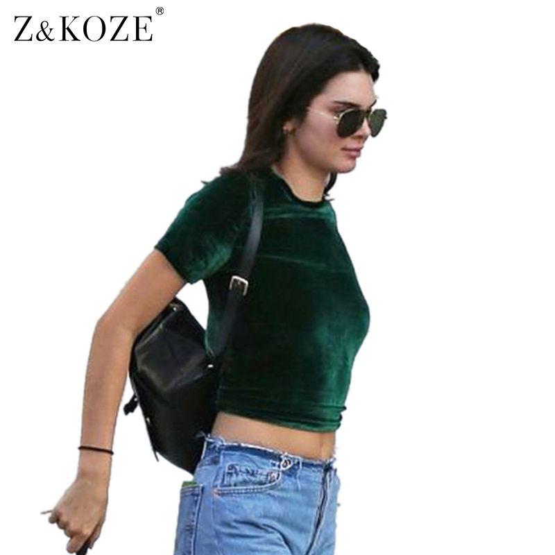 Z&KOZE 2017 Spring Summer Crop Top Velvet Back Split Sexy 2017 Vintage Ladies Short Sleeve T Shirt Women Gray Black T-Shirt Tops