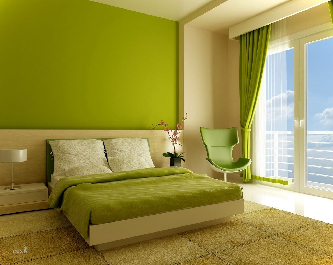 Interior furniture cool green and beige color wall asian for Bedroom interior furniture