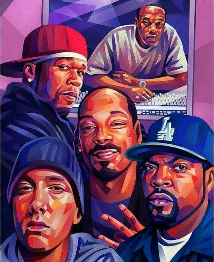 Dre 50 Snoop Cube And Em Hip Hop Art Hip Hop Artwork Rapper Art