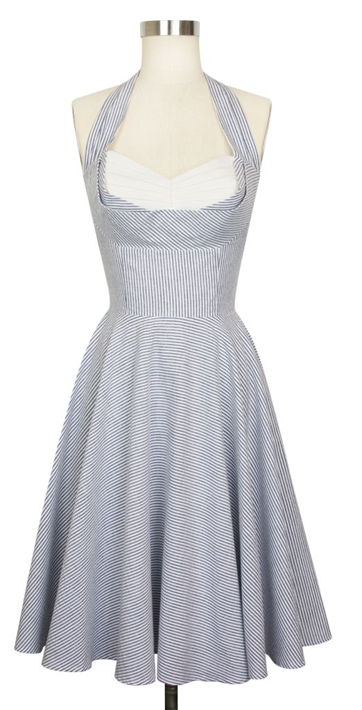 The Trashy Diva Lena Dress is now available in Blue and White Seersucker!