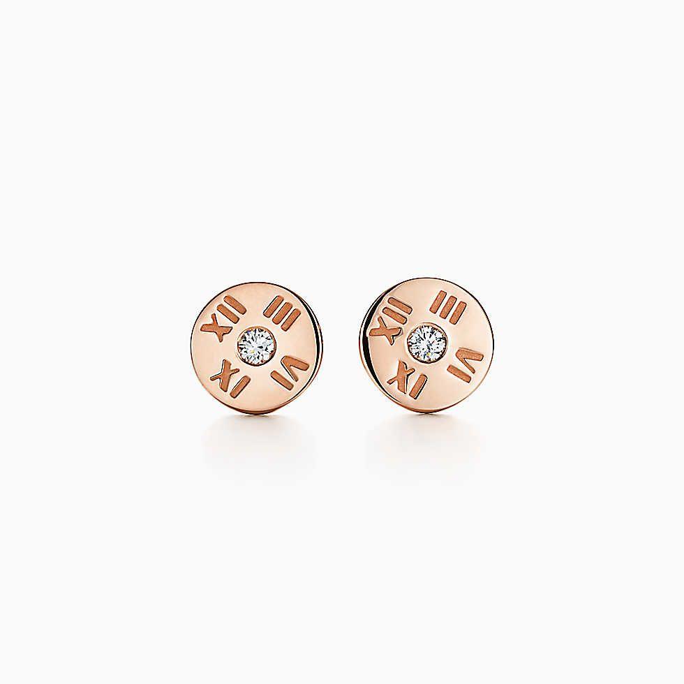 9508950bf Atlas® earrings in 18k rose gold with diamonds, mini.   Tiffany ...
