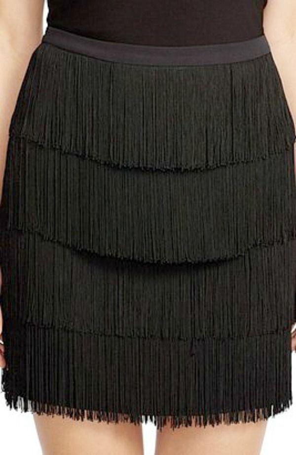 d9ebc359fb32b NWT Lauren RALPH LAUREN Womens 5-Tiered Black Fringe Plus size Skirt 16W   PoloRalphLauren  Tiered