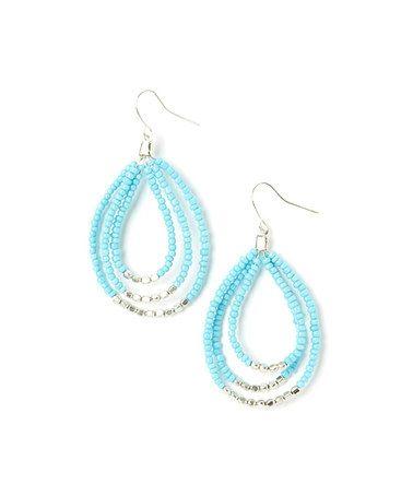 Look what I found on #zulily! Silver & Light Blue Beaded Teardrop Earrings #zulilyfinds