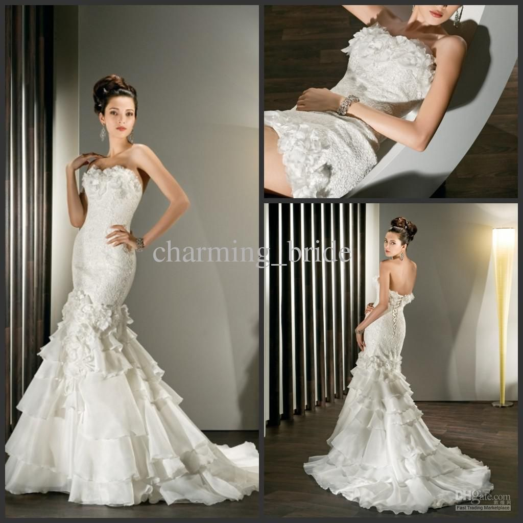 Whole Wedding Dress New Mermaid Detachable Train Sweetheart Lace Tiered Dresses Chapel