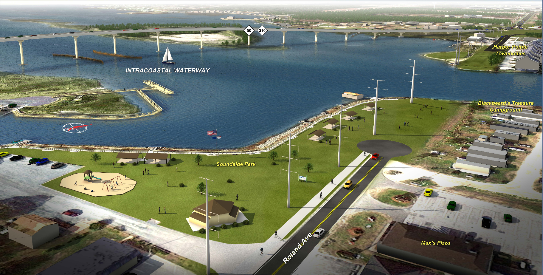 Artistic Rendering Of The New Bridge Looking Over Soundside Park Topsail Island Surf City Topsail Island Surf City Nc