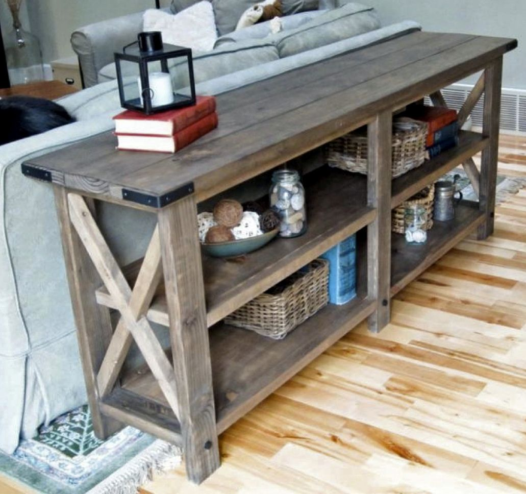 remodelaholic table diy pottery console barn inspired modern shelves rustic