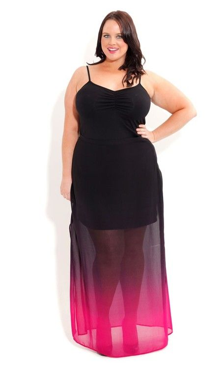 If you're a Star Trek fan you'll love how this skirt makes you look like you're being beamed up :)  City Chic Plus Size Ombre Dream Maxi Skirt