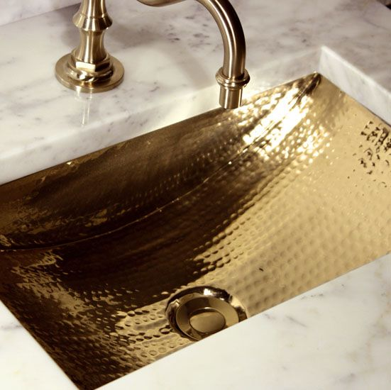 Photo of Brightwork Home Collection Hand Hammered Rectangle Undermount Bathroom Sink with Overflow in Polished Brass and Multiple Sizes by Nantucket Sinks | KitchenSource.com