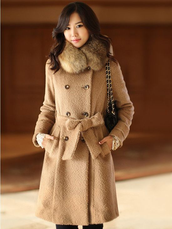 women in fur coats | Women-Real-Fur-Collar-Jacket-Lady-Wool-Double ...