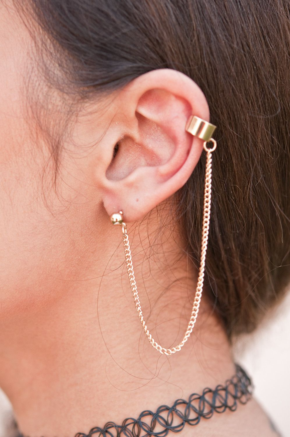 Simple Gold Ear Cuff Chain Earrings