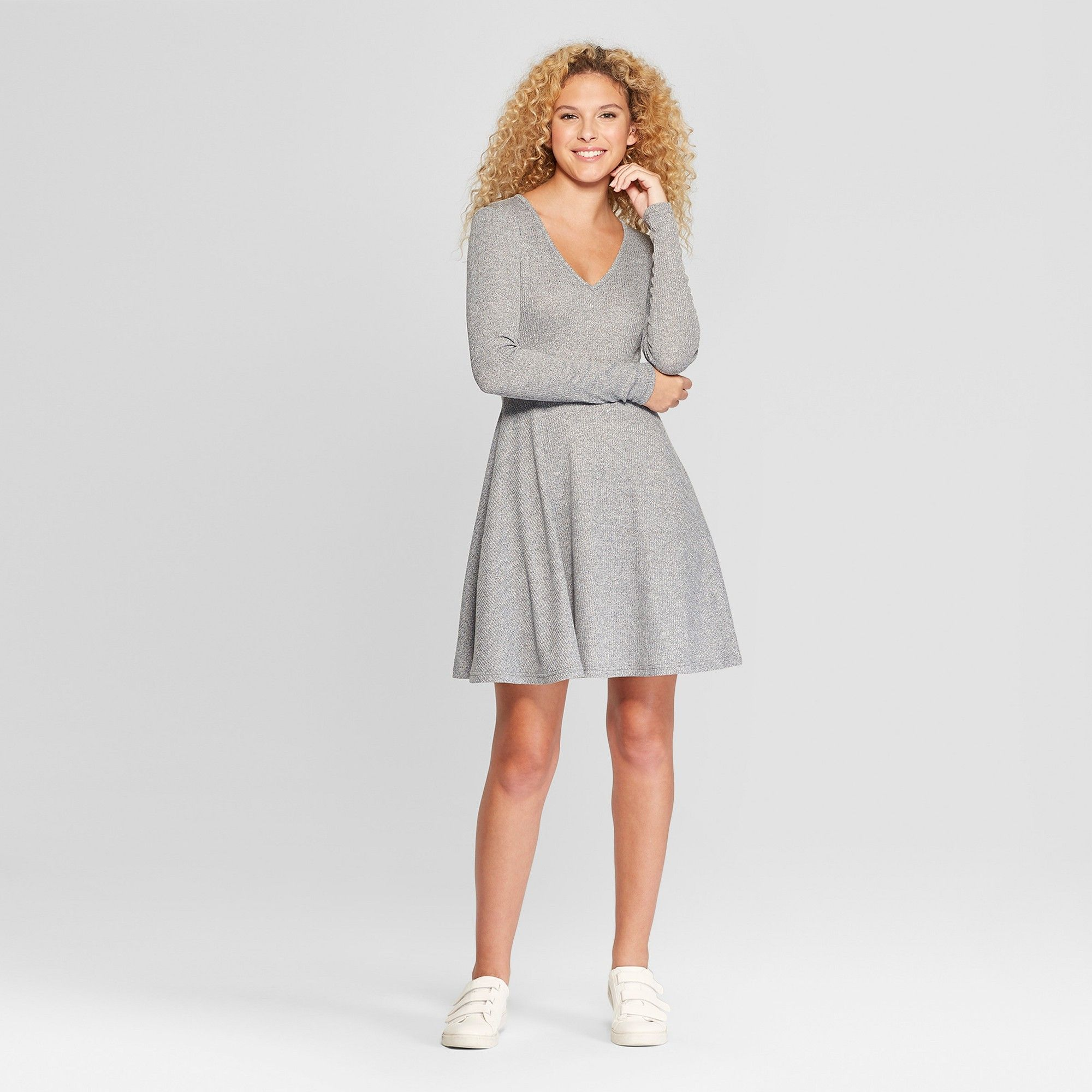 79a340499ff1 Women's Long Sleeve Rib Hacci Dress - Almost Famous (Juniors') Gray ...