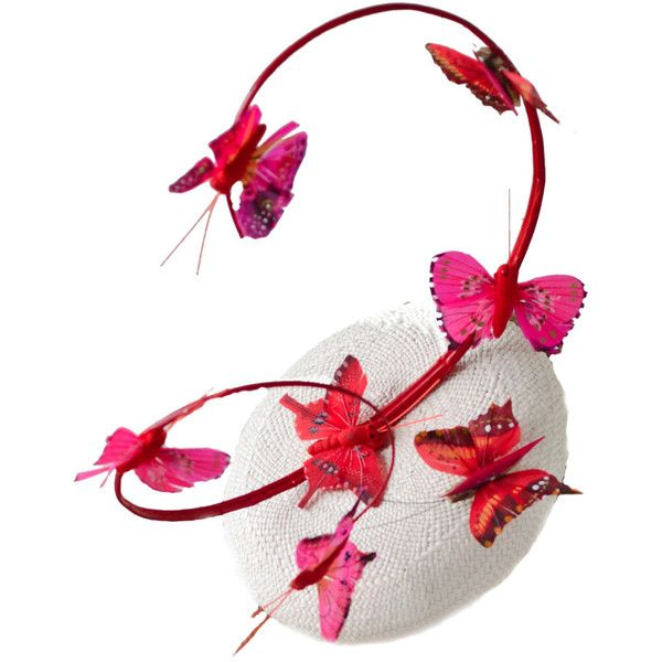 Royal Ascot Fashion Fascinator Hat Pink Red by EllaGajewskaHATS (€180) ❤ liked on Polyvore featuring accessories, hats, fascinators, butterflies, cappelli, pink fascinator, fascinator hat, hair fascinators, red hat and pink hats