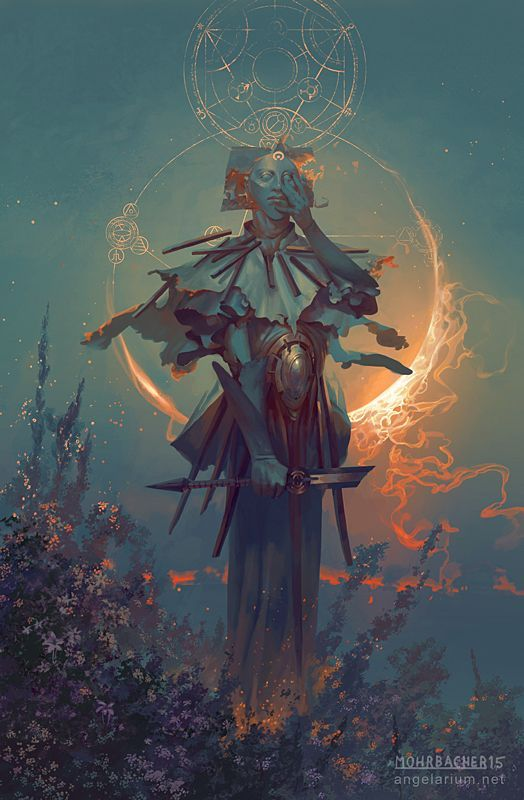 Samshiel, Angel of the Eclipse - Art by Peter Mohrbacher - from The Watchers - Angelarium: