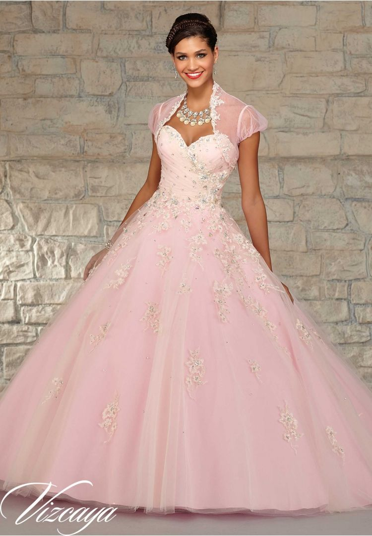 a4222628afa Quinceanera Dress 89022 Layered Tulle with Floral Embroidery and Multi  Stone Beading