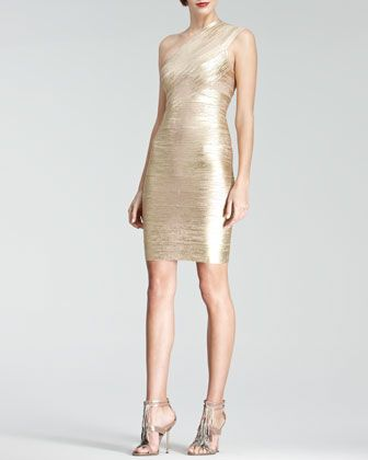 c55861fd926 Herve Leger One-Shoulder Metallic Bandage Dress | wardrobe fantasies ...